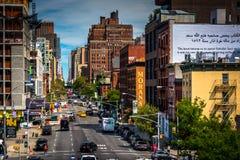 10ma avenida en Chelsea, vista de la alta línea en Manhattan, Ne Foto de archivo libre de regalías