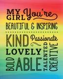 Ma belle affiche de compliments de fille Images stock