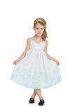 Mała blondynki dziewczyna w sukni zdjęcie stock