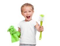 mała cleaning dziewczyna Zdjęcia Royalty Free
