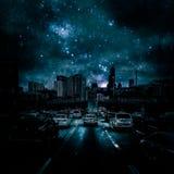 Ma conception de Chicago avec un ciel nocturne étoilé image libre de droits