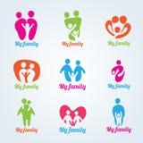 Ma conception moderne de vecteur de logo de personnes de famille illustration stock