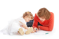 Ma and daughter draw Stock Images
