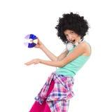 Mała DJ dziewczyna w afro peruce Zdjęcia Stock
