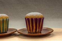 Mała domowej roboty babeczka z sproszkowanym cukierem na ceramicznym spodeczku Zdjęcie Stock