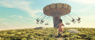 Mała dziewczynka bieg w polu Fotografia Stock