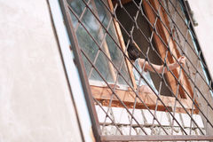 mała dziewczynka, dziecko, trzyma bary na okno, Rosja, Bashkortostan, Ufa Zdjęcie Stock