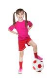 Mała dziewczynka gracz futbolu Fotografia Stock