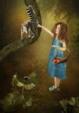 Mała dziewczynka i lemur Fotografia Stock