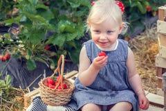 Mała dziewczynka je truskawki Obrazy Royalty Free