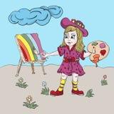 Mała dziewczynka rysuje tęczę z farbami ilustracja wektor