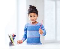 Mała dziewczynka rysunek Zdjęcie Royalty Free