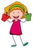 Mała dziewczynka trzyma dwa capsicums Zdjęcie Stock