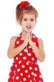 Mała dziewczynka w czerwieni sukni z polek kropkami Obraz Stock