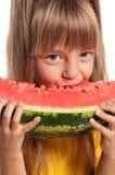 Mała dziewczynka z arbuzem Zdjęcie Stock