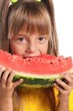 Mała dziewczynka z arbuzem Obraz Stock