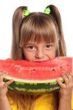 Mała dziewczynka z arbuzem Fotografia Royalty Free