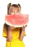 Mała dziewczynka z arbuzem Obraz Royalty Free