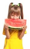 Mała dziewczynka z arbuzem Zdjęcie Royalty Free