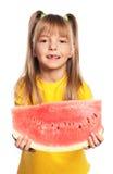 Mała dziewczynka z arbuzem Obrazy Royalty Free