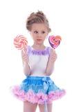 Mała dziewczynka z dwa lizakami Obraz Royalty Free