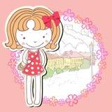 Mała dziewczynka z kwiatami w miasteczku Fotografia Royalty Free