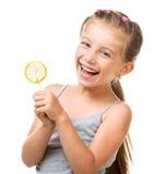 Mała dziewczynka z lizakiem Obrazy Royalty Free