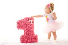 Mała dziewczynka z numerowy jeden Obrazy Royalty Free