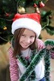 Mała dziewczynka z Santa kapeluszem Obraz Royalty Free