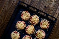 Małe semifinished pizze Zdjęcie Royalty Free