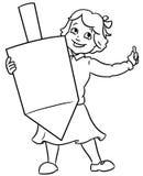 Małego jewixh dziewczyny mienia channuka wielki dreidel Zdjęcie Royalty Free
