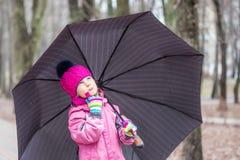 Małej dziewczynki odprowadzenie pod parasolem w parku Zdjęcie Royalty Free