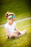 Małej dziewczynki writing Zdjęcia Stock