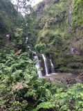 3 małej siklawy na sposobie Hana Maui Hawaje Zdjęcia Royalty Free