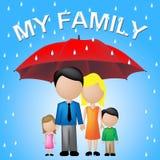 Ma famille montre le parapluie et l'enfant de mêmes parents de parasol Image libre de droits