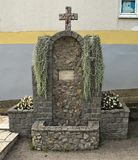 Mała fontanna i religijna mozaika w monasteru jardzie, Serbia Obrazy Royalty Free