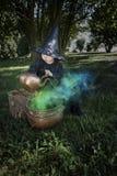 Mała Halloween czarownica z couldron outdoors Fotografia Stock