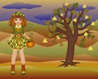 Mała jesieni dziewczyna drzewo i sezony, wektor Obraz Stock