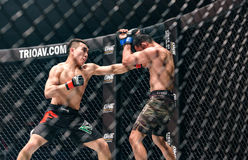 Ma Jia Wen of China and Yohan Mulia Legowo of Indonesia in One Championship. Stock Photo