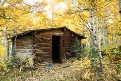 Mała kabina w drewnach w jesieni Obraz Stock