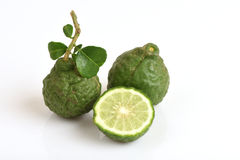 Ma-krut (Thai name) or Kaffir lime or leech lime or Mauritius Papeda or Bergamot. Ma-krut (Thai name) or Kaffir lime or leech lime or Mauritius Papeda or stock image