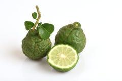 Ma-krut (Thai name) or Kaffir lime or leech lime or Mauritius Papeda or Bergamot. Stock Image