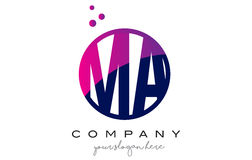 MA M A Circle Letter Logo Design avec Dots Bubbles pourpre Photo stock