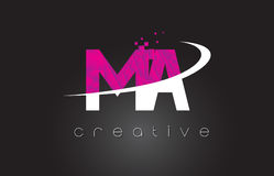 MA M A Creative Letters Design With White Pink Colors Royalty Free Stock Images