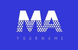 MA M A Dotted Letter Logo Design con el fondo azul Fotos de archivo libres de regalías