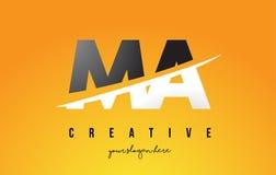 MA M A Letter Modern Logo Design avec le fond jaune et le Swoo illustration stock