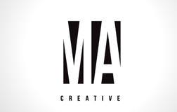 MA M A White Letter Logo Design avec la place noire Photos libres de droits