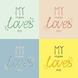 Ma maman m'aime handlettering dans l'ensemble de couleurs en pastel Image libre de droits