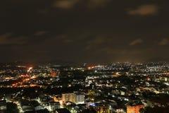 Mała miasto nocy scena Zdjęcie Stock