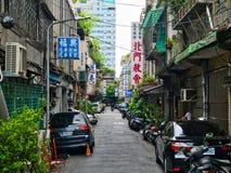 Mała miastowa ulica w starym Taipei fotografia stock